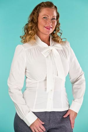 the sassy secretary blouse. cream white