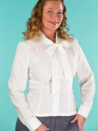 the sassy secretary blouse. cream white