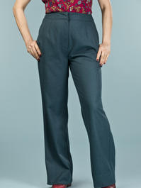the dapper dame pants. teal combed twill