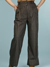 the fancy worker pants. mustard/black plaid