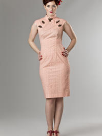 the Shanghai sweetie dress. peach cotton