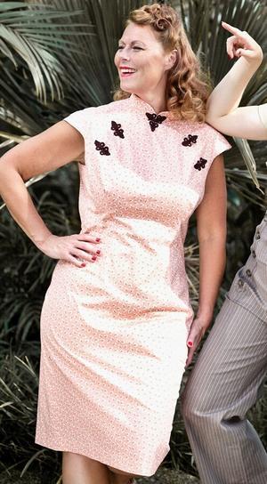 the Shanghai sweetie dress. peach cotton