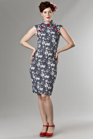 the Shanghai sweetie dress. navy flowers
