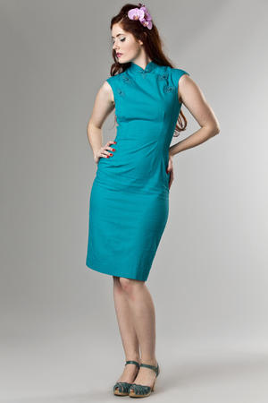 the Shanghai sweetie dress. turquoise