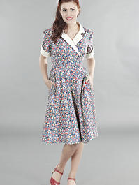 the wonderful weather wrap dress. Navy flowers