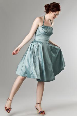 the Honolulu swing dress. shiny mint blue