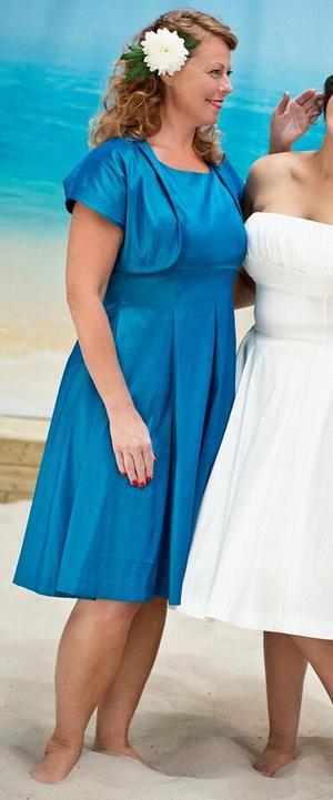 the bombshell bolero and dress duo. shiny turquoise