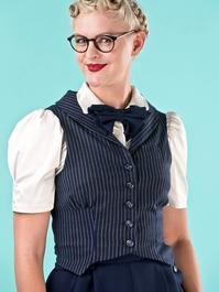 the miss fancy pants waistcoat. navy pinstripe