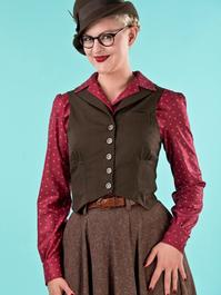 the miss fancy pants waistcoat. brown pinstripe