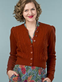 the ice skater cardigan. cinnamon