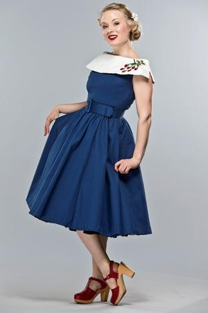 the strawberry summernight dress. Navy pique