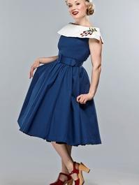 the strawberry summernight dress. Navy pique
