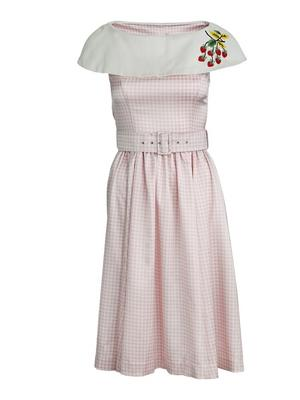 the strawberry summernight dress. Pink checked satin