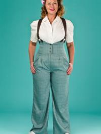the miss fancy pants slacks. blue/green/brown