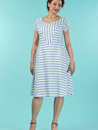 the true thirties dress. mint/blue stripe