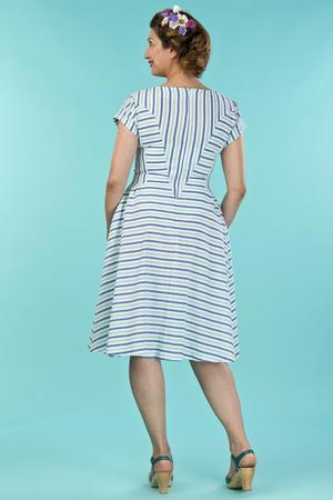 the true thirties dress. mint/blue stripe