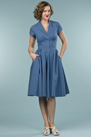 the rock around the clock dress. blue cotton