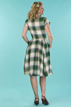 the rock around the clock dress. violet/green