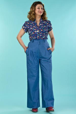the fancy worker pants. blue cotton