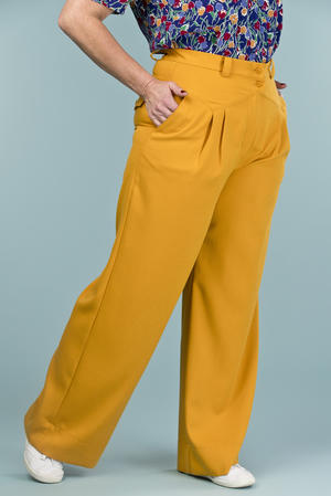 the fancy worker pants. mustard weave