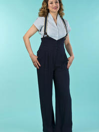 the miss fancy pants slacks. navy linen
