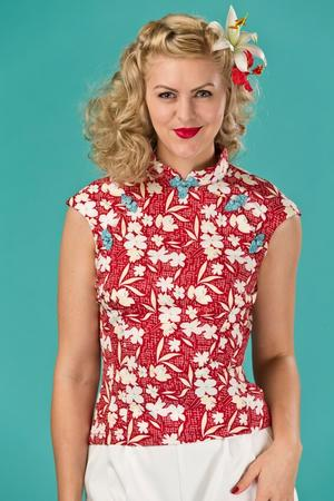 the Shanghai sweetie top. red floral