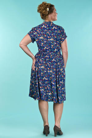 the rock around the clock dress. tulips in blue