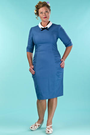 the nice and neat wiggle dress. blue cotton